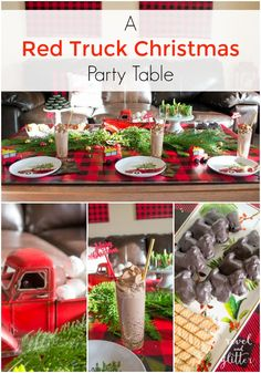 This red truck Christmas party could be used for a dessert table or a dinner table! I was able to put everything together with a quick trip to the store.