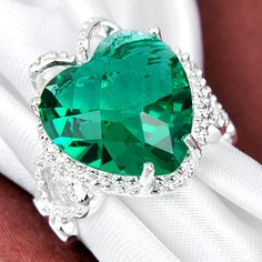 emarald ring earring   ... Heart Green Emerald Topaz 925 Silver Ring Jewelry 31 Ct Sz 8   eBay