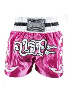 Sandee Respect Thai Shorts - Pink White & Black - All Ages Fight Shorts, Boxing Fight, Polyester Satin, Muay Thai, Respect, Pink White, Thailand, Stylish, Swimwear
