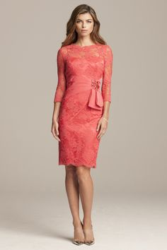 Beaded Lace 3/4 Sleeve Dress with Taffeta Belt | Teri Jon