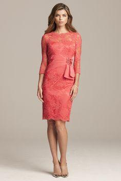 Beaded Lace 3/4 Sleeve Dress with Taffeta Belt | Teri Jon