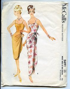 Size 10 dress pattern, McCalls 5691. Size for 31 bust - 24 waist - 33 hips. Sarong style dress in two lengths.. All pattern pieces have been