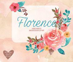 "Watercolor ""Florence"" clip art/paper Graphics Watercolor , Romantic Bouchet clipart, rose clipart, Spring flower clipart, Pink Floral Clipart, Lea by designloverstudio"