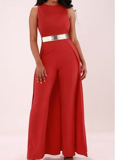 Overlay Embellished Solid Red Sleeveless Jumpsuit on sale only US$35.84 now, buy cheap Overlay Embellished Solid Red Sleeveless Jumpsuit at lulugal.com
