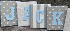 Wall Letters, Blue and Gray Nursery, Gray and Baby Blue Nursery, 8x10, Framed Monogram, Baby Nursery, Painted Letters,Letters, Personalized. $21.99, via Etsy.