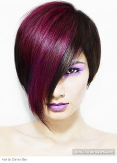 Go glam and edgy with this Punk purple hair style that looks simply drop-dead-gorgeous if you're ready to make a real statement with your tresses. I love this look & the purple makeup.