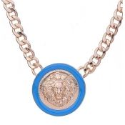 Fashion Personality Lion Head Embellished Blue Round Metal Necklace