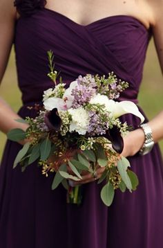 Top Wedding Ideas - plum bridesmaid dress and lavender bridesmaid bouquet Purple And Green Wedding, Purple Wedding Flowers, Fall Wedding Colors, Autumn Wedding, Plum Purple, Dark Purple Flowers, Pretty Flowers, Eggplant Wedding Colors, Aubergine Wedding
