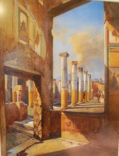"""House of coloured capitals at Pompeii"" (1856) by Giacinto Gigante (1806-1876)…"