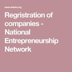 Regristration of companies - National Entrepreneurship Network
