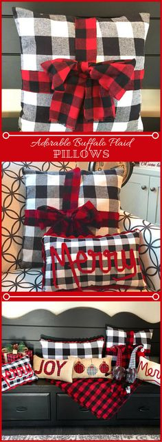 Buffalo Plaid and Christmas...one of my favorite home decor combinations! I don't think I can decide which pillow I like more. Looks like I'll have to have all of them. Christmas Plaid Pillow, Christmas Pillow, Buffalo Plaid Pillow, Buffalo Check Pillow Cover, Farmhouse Christmas, Farmhouse Pillow Cover #Buffaloplaid #Christmas #Rustic #Pillows #affiliate
