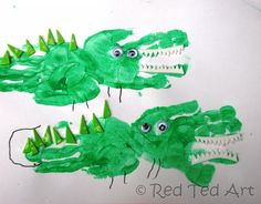 handprint crafts crocodile  for letter C  Great Website! The whole alphabet in handprint style!