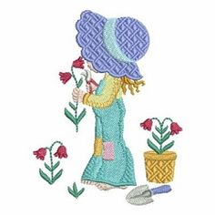 Spring Sunbonnet Sue 10 - 4x4 | What's New | Machine Embroidery Designs | SWAKembroidery.com Ace Points Embroidery