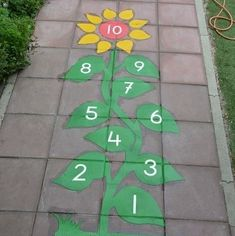 Image may contain: outdoor Sensory Activities, Outdoor Activities, Fun Games, Games For Kids, Sensory Pathways, Free Printable Numbers, Sidewalk Chalk, School Design, Teaching Kids