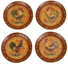 french country chickens roosters   ... Old World Traditional French Country 10' Rooster Wall Hanging Plates