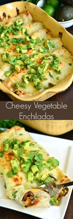 Cheesy Vegetable Enchiladas. Amazing enchiladas packed with marinated vegetable mixture and lots of cheese, baked with creamy salsa verde sauce, and topped with avocado topping.