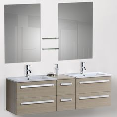 "Beliani 60"" Modern Double Bathroom Vanity Set with Mirrors"