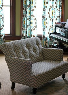 Recover a vintage loveseat in turquoise or robbins egg blue chevron for clipped kitchen/living room wall.