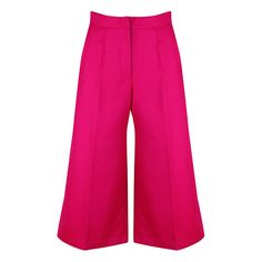 Liza Veta Magenta Merino Wool Culottes ($465) ❤ liked on Polyvore featuring pants, capris, pink, high-waist trousers, sport pants, merino wool pants, pink high waisted pants and zip pants