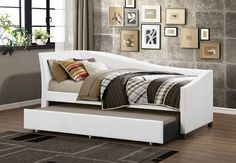 Baxton Studio Vera Modern White Faux Leather Upholstered Curved Twin Daybed with Roll-Out Trundle