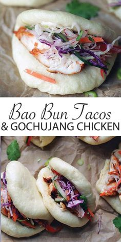 Bao Bun Tacos with Gochujang Chicken and Banh Mi Slaw - this recipe is the ultimate combo of amazing flavors.  Homemade Bao Buns that are stuffed up with marinated and roasted gochujang chicken and topped off with a fresh banh mi coleslaw! #baobun #gochujang #banhmi #tacos