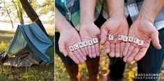 camping engagement theme | Scrabble http://www.mariearummel.com/blog  (CLICK ON PHOTO TO SEE MORE)
