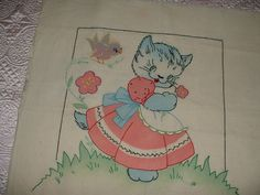Vintage Vogart Tinted Embroidered Pillow Cover~Kitten Cat & Bird~SO CUTE!