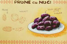 Walnut Stuffed Prunes Romania Food, Comidas Fitness, Recipe Drawing, Russian Recipes, Romanian Recipes, Thinking Day, Moldova, Food Journal, Food Illustrations