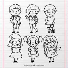 Fantastic collection of hand-drawn students Free Vector Little Boy Drawing, Drawing For Kids, Les Doodle, Character Drawing, Character Design, Kawaii Doodles, Face Doodles, Doodle People, Drawing Cartoon Faces