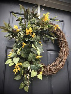 Spring Wreaths, Forsythia Wreaths, Yellow Forsythia, Door Wreath for Spring, Gift for Her, Housewarming, Spring Door Decor, Yellow Wreaths What a simple yet beautiful design, with yellow forsythia sprigs, ivy and some delicate twigs, creating a subtle yet appropriate wreath for the