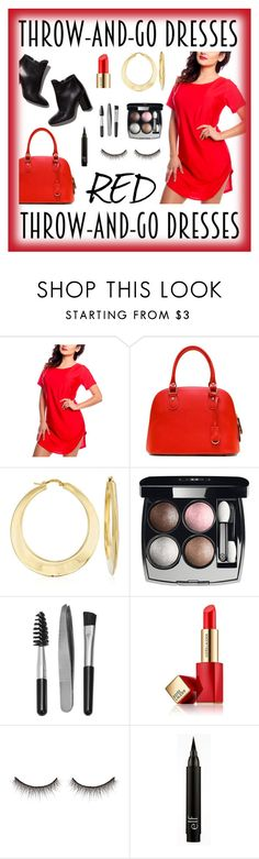 """""""Throw-And-Go Dresses Red Contest Entry"""" by polyvorequeen2754 ❤ liked on Polyvore featuring Pierre Hardy, Ross-Simons, Chanel, Sephora Collection, Estée Lauder and shu uemura"""