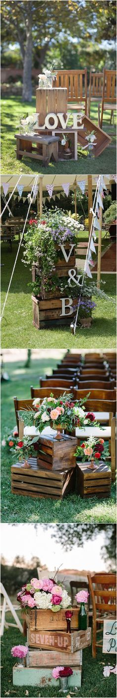 Wooden crate wedding decor ideas / http://www.deerpearlflowers.com/rustic-woodsy-wedding-trend-2018-wooden-crates/ #rusticweddings #countryweddings