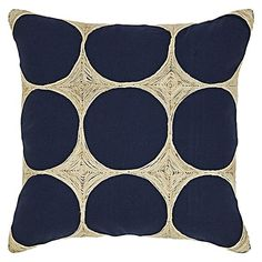 Ground your bedroom style with the rich blues and textured applique of the Napoleon Cushion from j.elliot HOME.
