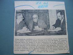 El presidente de la IS en los años 50 ya estaba interesado en América Latina. En la foto se observa su reunion con José Cardoso y Emilio Frugoni, dirigentes socialistas uruguayos. También estuvo en Buenos Aires. En ambos casos trató de intermediar -infructuosamente- en los conflictos internos de los PS.
