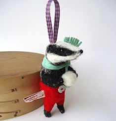 Needle Felted Winter  Badger with Snowball by MissBumbles on Etsy