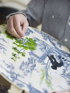 Textile artist, Richard Saja, does magical embroidery over old toile prints.