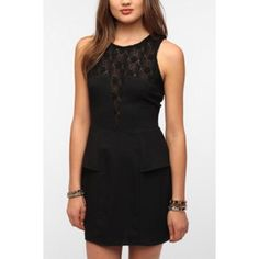 """UO Black Peplum Dress Sparkle and Fade embroidery inset peplum dress! Stunning black dress from UO. Extremely flattering on. Fitted, but Peplum hides any """"bumps"""". Cute embroidery detailing, makes it different from other black dresses. Great for a night out! There are a few tiny snags you can't notice unless you're close up (see pic. 4) Urban Outfitters Dresses Mini"""