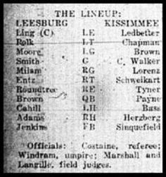 1927 Leesburg Yellow Jackets Football Team Archives, Yellow Jackets Defeat Kissimmee Team, Score 46-0, Saturday, November 5, 1927, The Starting Lineup
