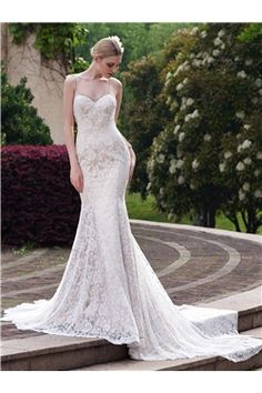 Trumpet/Mermaid Beach  Elegant & Luxurious All Sizes Floor-Length Court Sleeveless Lace Wedding Dress