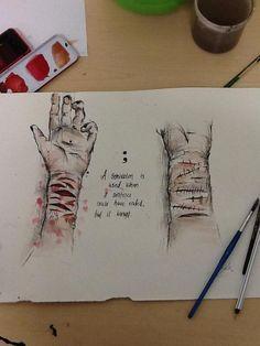 Drawing for self harm:( #selfharm: Depression Art, Sad Drawings, Arte Obscura, Sad Art, Sad Quotes, Graphic, Amazing Art, Doodles, Artist