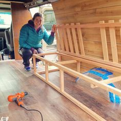 DIY Camper Van Bed and Table Construction Tutorial Self Build Campervan, Campervan Bed, Build A Camper Van, Campervan Interior, Camper Beds, Truck Bed Camper, Kombi Trailer, Diy Camper Trailer, Stealth Camper Van