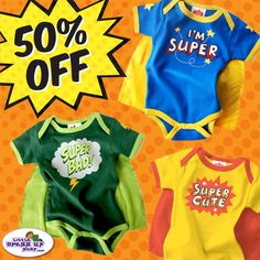 Just in time for Halloween! We're offering these adorable Infant and Toddler Superhero Onesies at 50% off! Now only $15 #baby #costume