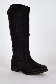 Studded star cut out calf boots