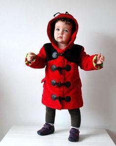 Kids ladybird coat red black childrens jacket by OliveAndVince