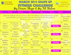 March 2014 Fitness Challenge - 31-Day Workout Calendar. I love this fitness page! It has so many printable workouts.