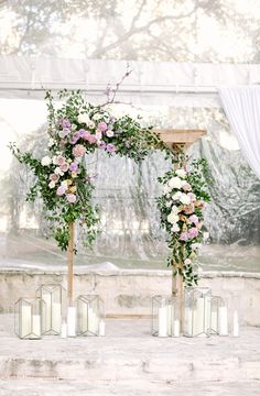 New Wedding Ceremony Flowers Indoor Chuppah Ideas Wedding Arch Greenery, Wedding Altars, Wedding Ceremony Backdrop, Ceremony Arch, White Wedding Flowers, Floral Wedding, White Flowers, Green Wedding, Spring Flowers