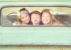 use a truck window to frame siblings or friends...choose a vintage effect in your photo editing program to give a newer truck that nostalgia feel