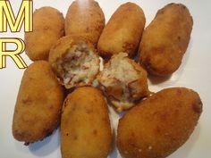 Croquetas de chicote Tapas, Bento Box, Canapes, Empanadas, Sweet Potato, Good Food, Appetizers, Healthy Eating, Potatoes