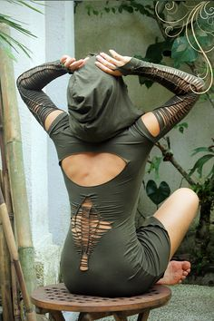 Fee Tunika Kleid. Burning Man Festival, Doof, Tanz-Outfit. Alternative Kleidung Elf Kleid handgefertigt in Bali
