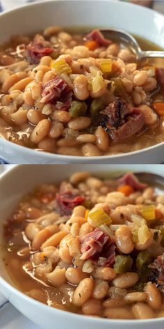 Instant Pot Ham and White Bean Soup A warm, healthy, tasty, comforting and nouri. with ham soup Instant Pot Ham and White Bean Soup A warm, health - Container Gardening Diy Ham And Beans, Ham And Bean Soup, White Bean Soup, Navy Bean Soup, Healthy Chicken Recipes, Soup Recipes, Cooking Recipes, Lima Bean Recipes, Salad Recipes